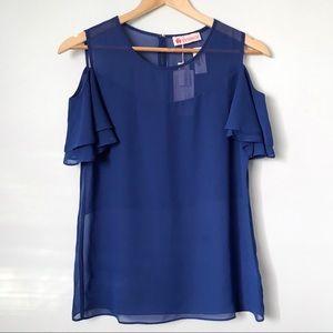 Blue short sleeve cold shoulder blouse